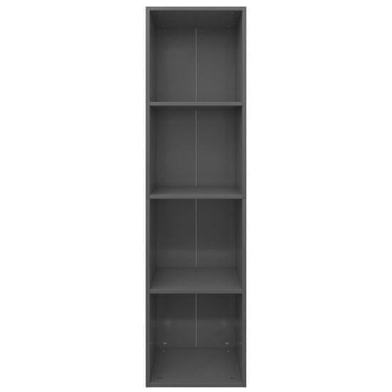 shumee Knjižna / TV omara visok sijaj siva 36x30x143 cm iverna plošča