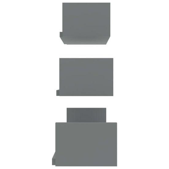 shumee Stenske razstavne police 3 kosi sive iverna plošča