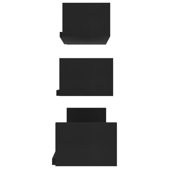 shumee Stenske razstavne police 3 kosi črne iverna plošča