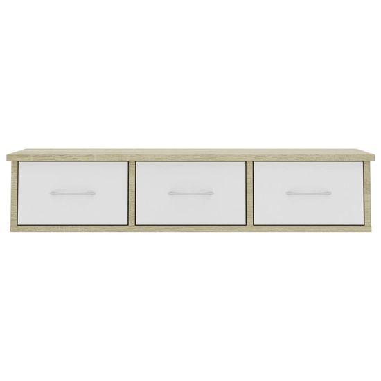shumee Stenska polica s predali bela in sonoma hrast 88x26x18,5 cm