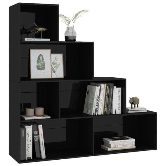 shumee Knjižna omara/pregrada visok sijaj črna 155x24x160 cm
