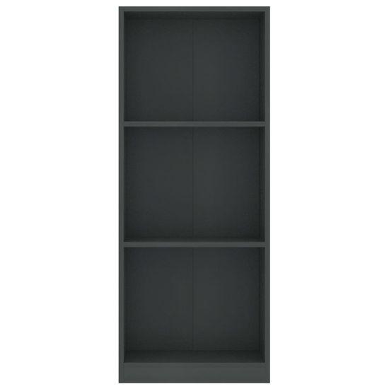 shumee 3-poziomowy regał na książki, szary, 40x24x108 cm, płyta
