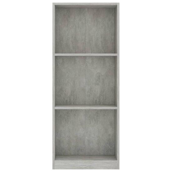 shumee Knjižna omara 3-nadstropna betonsko siva 40x24x108cm iverna pl.