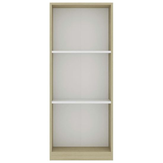 shumee Knjižna omara 3-nadstropna bela in sonoma hrast 40x24x108 cm