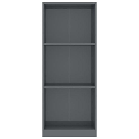 Greatstore Knjižna omara 3-nadstropna visok sijaj siva 40x24x108 cm