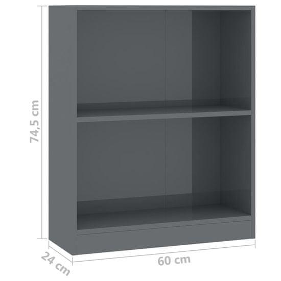 shumee Knjižna polica visok sijaj siva 60x24x74,5 cm iverna plošča