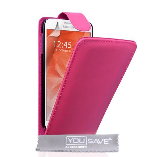 Yousave usnjeni flip ovitek Leather-Effect za Samsung Galaxy S6 Roza