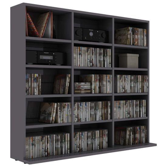 shumee magasfényű szürke forgácslap CD-tartó szekrény 102x23x89,5 cm