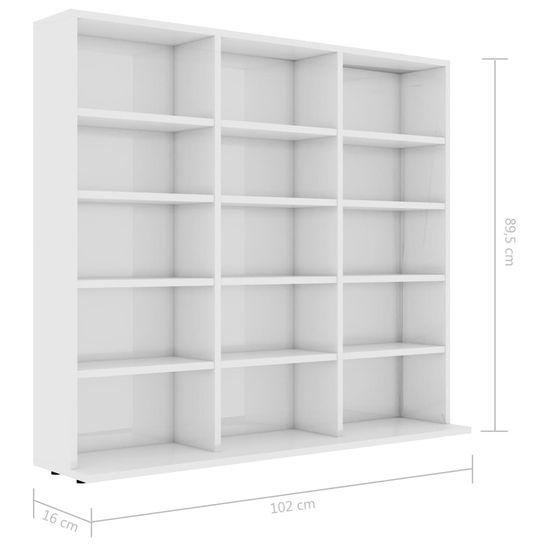 Greatstore Skrinka na CD, lesklá biela 102x23x89,5 cm, drevotrieska