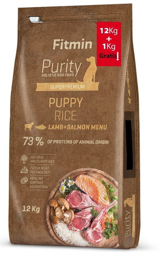 Fitmin dog Purity Rice Puppy Lamb & Salmon 12 kg + 1 kg