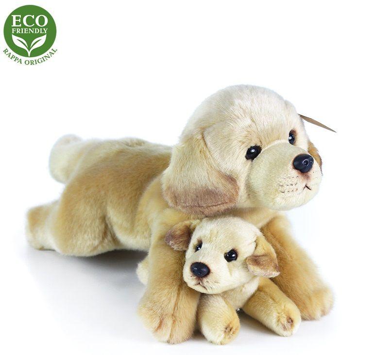 Rappa Plyšový labrador s miminkem ležící, 25 cm, ECO-FRIENDLY