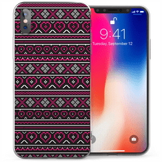 Caseflex Aztec Hearts silikonski ovitek za iPhone X/XS, roza/črna