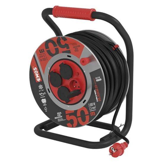 Emos Prodlužovací kabel - guma/neoprén, buben kovový - 4 zásuvky, 50 m, 1,5 mm2 1908445000