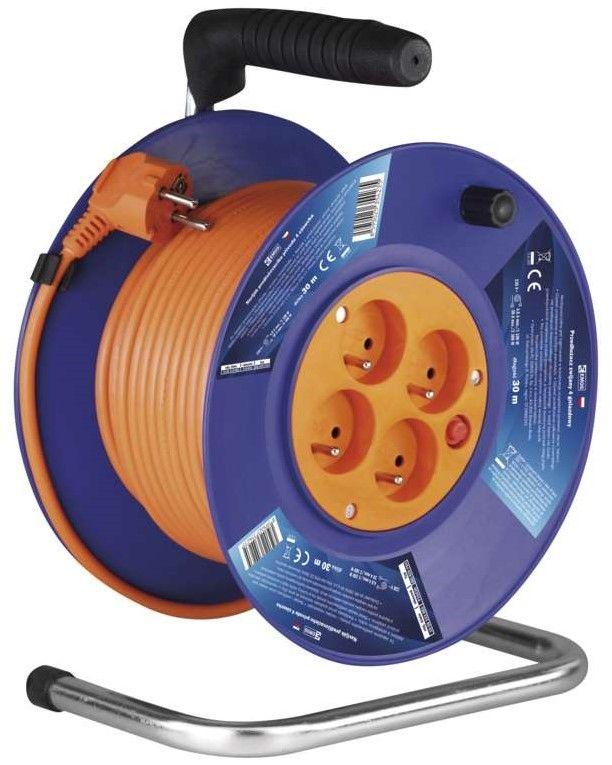 Emos PVC prodlužovací kabel na bubnu - 4 zásuvky, 30 m, 1 mm2 1908143001 - zánovní