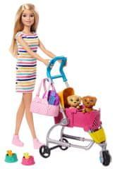 Mattel lalka Barbie na spacerze z psem