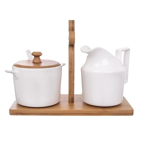 Orion Dzbanek na mleko, cukiernica i stojak BAMBU