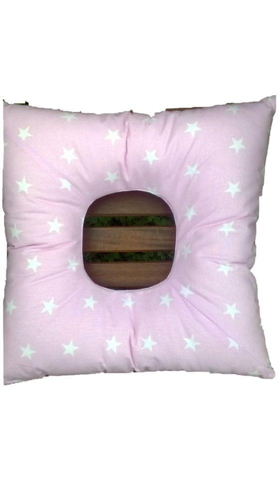 KHC Poporodní polštář Blaženka Bílé hvězdy na růžové 40x40 Duté vlákno