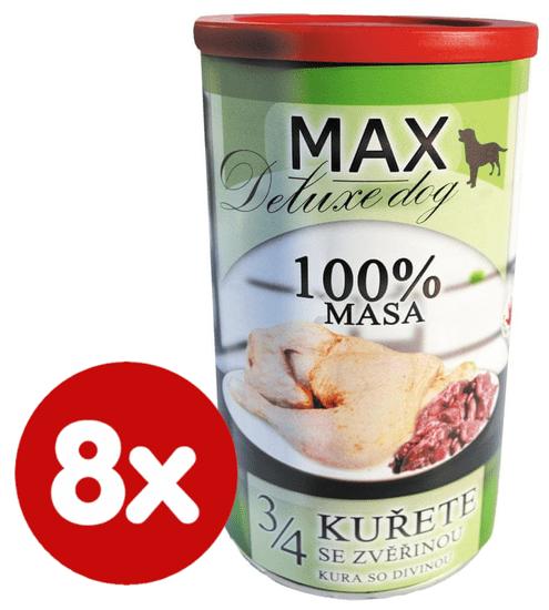 FALCO MAX Deluxe konzerve za odrasle pse, 3/4 piščanca z divjačino, 8x 1200 g