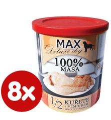 FALCO MAX Deluxe konzerve za odrasle pse, 1/2 piščanca z govejimi vimeni, 8x 800 g