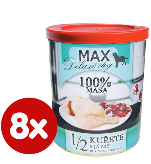 FALCO MAX Deluxe konzerve za odrasle pse, 1/2 piletina s jetrima, 8x 800 g