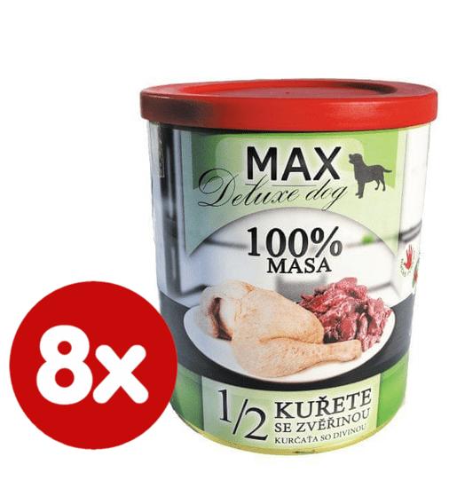 FALCO MAX Deluxe konzerve za odrasle pse, 1/2 piščanca z divjačino, 8x 800 g