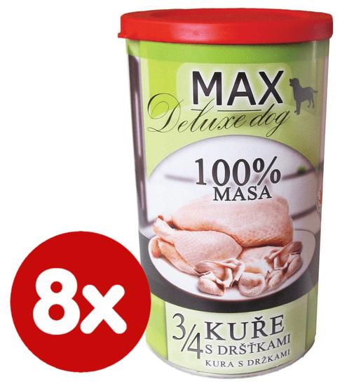 FALCO MAX Deluxe konzerve za odrasle pse, 3/4 piščanca z želodčki, 8x 1200 g