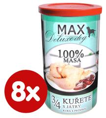 FALCO MAX Deluxe konzerve za odrasle pse, 3/4 piščanca z jetrci, 8x 1200 g