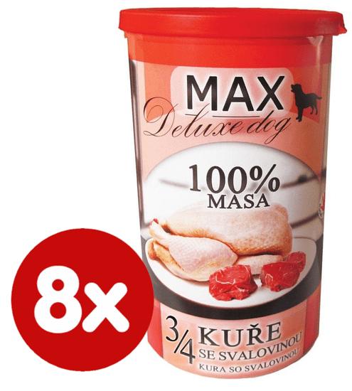 FALCO MAX Deluxe konzerve za odrasle pse, 3/4 piščanca z govedino in svinjino, 8x 1200 g