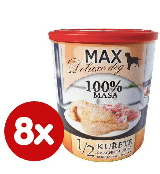 FALCO MAX deluxe 1/2 kuřete s kachními srdci 8x800 g