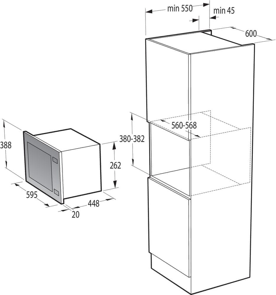 Gorenje vestavná mikrovlnná trouba BM321A7X