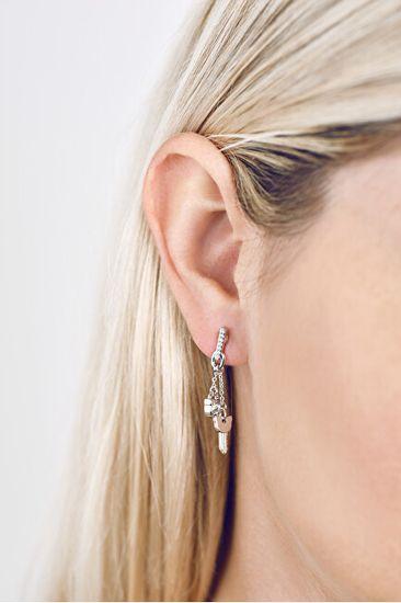 Karl Lagerfeld Visací náušnice Lock & Key Choupette Linear Post 5512255