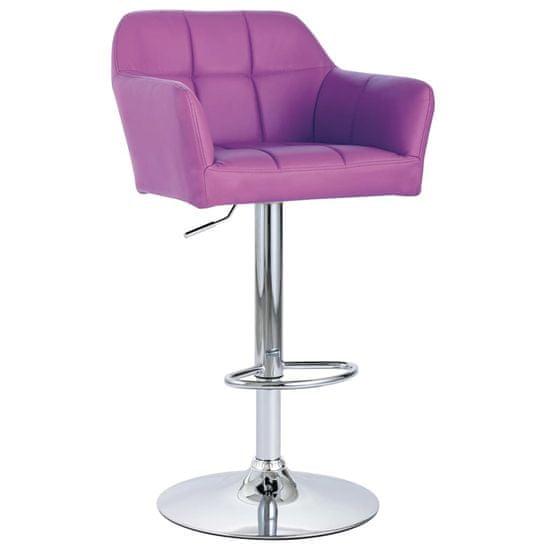 shumee Krzesła barowe, 2 szt., z podłokietnikami, fioletowe, ekoskóra