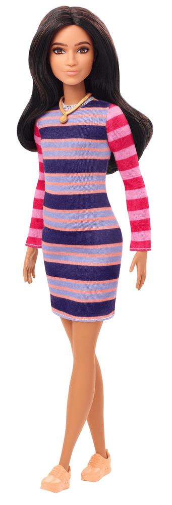Mattel Barbie Modelka 147 - Pruhované šaty s dlouhými rukávy