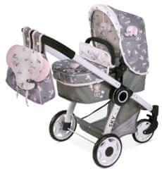 DeCuevas 80535 zložljiv voziček za lutke dvojčke 3 v 1 z nahrbtnikom
