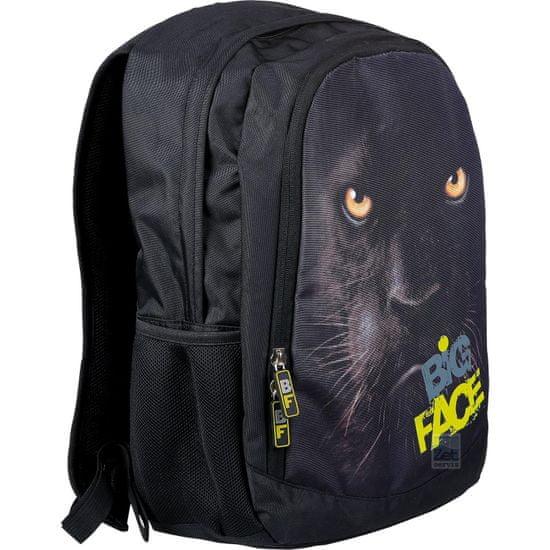 St.Majewski Školní batoh Big Face Panter, černý - zánovní