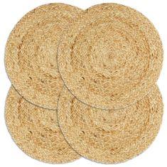 shumee Maty na stół, 4 szt., gładkie, naturalne, 38 cm, okrągłe, juta