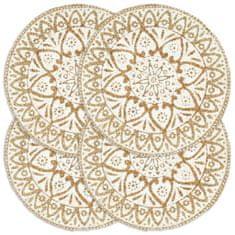 shumee Maty na stół, 4 szt., białe, 38 cm, okrągłe, juta