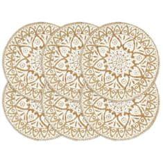 shumee Maty na stół, 6 szt., białe, 38 cm, okrągłe, juta
