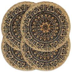 shumee Maty na stół, 4 szt., ciemnoniebieskie, 38 cm, okrągłe, juta