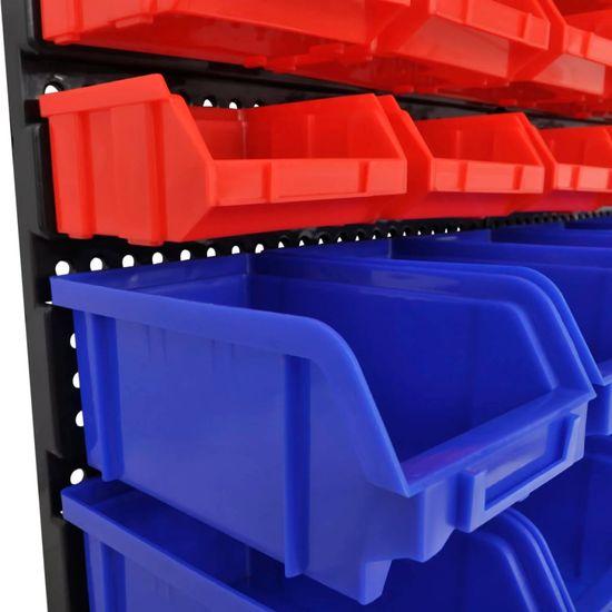 Greatstore Nástenné zásobníky do garáže 30 ks sada modré a červené