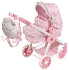 DeCuevas 80534 zložljivi voziček za punčke 3 v 1 z nahrbtnikom Magic Maria