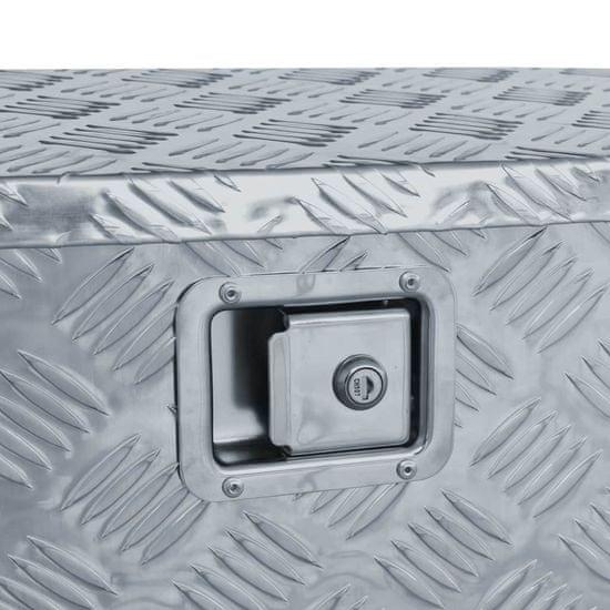 shumee ezüstszínű trapéz alakú alumíniumdoboz 70 x 24 x 42 cm