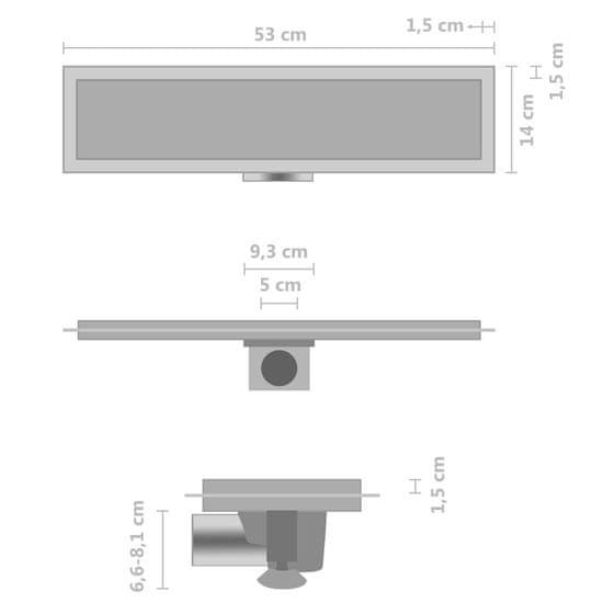shumee Sprchový odtok s krytom 2 v 1 53x14 cm nehrdzavejúca oceľ