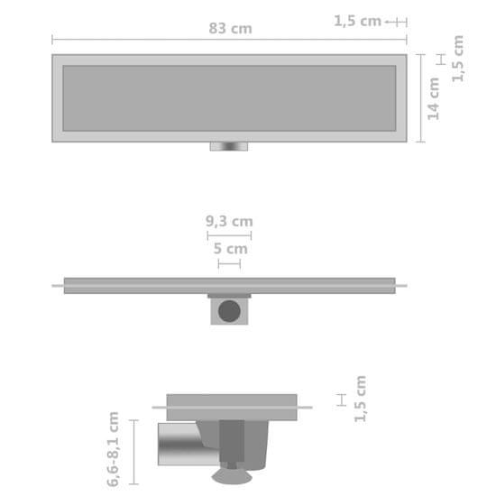 shumee Odpływ z pokrywą 2-w-1, 83x14 cm, stal nierdzewna