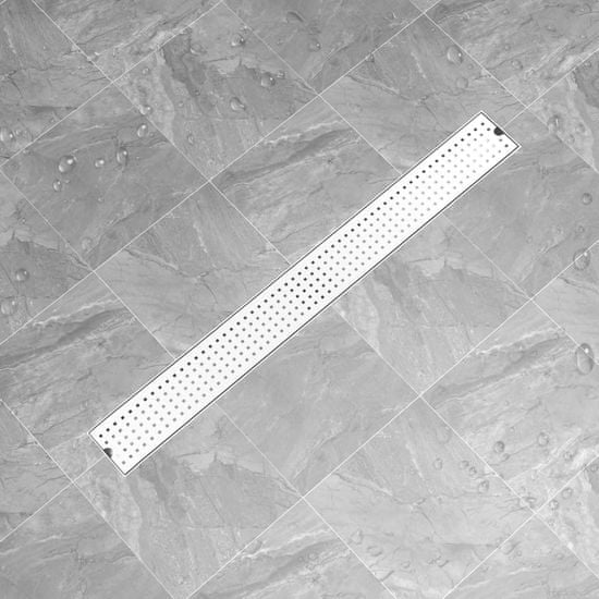 shumee Odpływ prysznicowy z kropkami, 103x14 cm, stal nierdzewna