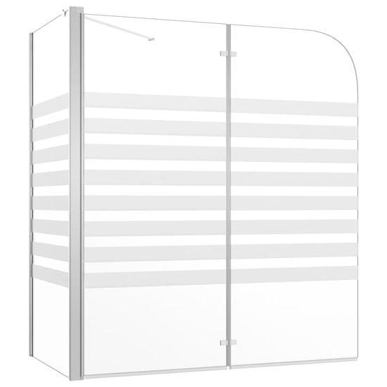 shumee Tuš stena za kopalno kad 120x68x130 cm kaljeno steklo s črtami