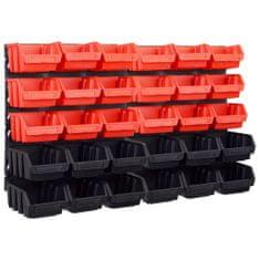 shumee 32dílný set skladovacích zásobníků nástěnné panely červenočerný