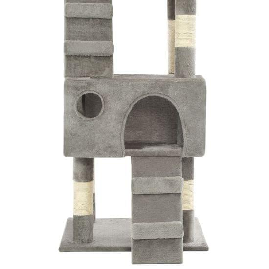 shumee szürke macskabútor szizál kaparófákkal 170 cm