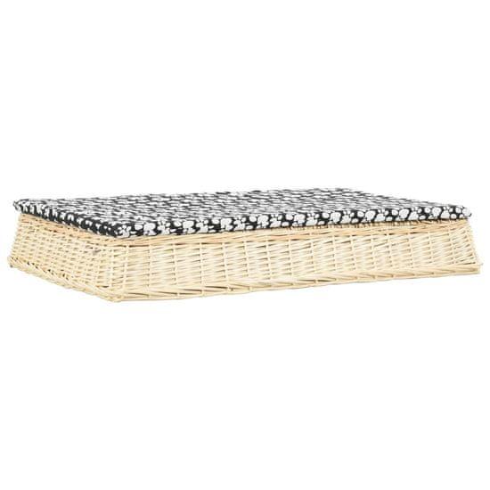 shumee Pasja postelja z blazino 110x75x15 cm naravna vrba