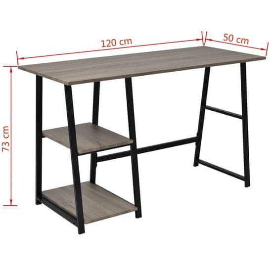 shumee Pisalna miza z 2 policama sive barve in hrast
